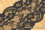 Soft Bralette Lace Black/French Lingerie Lace Black/Stretch Lace/Chantilly Lace/Black Floral Lace/Wide Lace by the yard, FNL-03