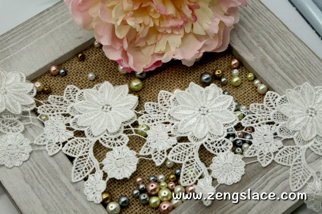 Guipure lace trim/Venise Lace Trim/Bridal Lace Trim/Wedding Dress Lace/Bridal Veil Lace/Off-White Lace Trim/Antique Lace Trim/GL-35