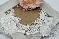 Wide guipure lace trim with flowers and bridal pattern, venise lace trim, wedding lace trim, GL-41