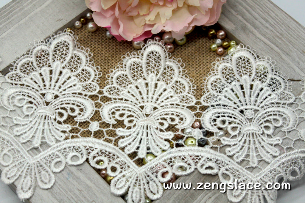 Guipure lace trim/Venise Lace Trim/Bridal Lace Trim/Wedding Dress Lace/Bridal Veil Lace/Off-White Lace Trim/Antique Lace Trim/GL-43