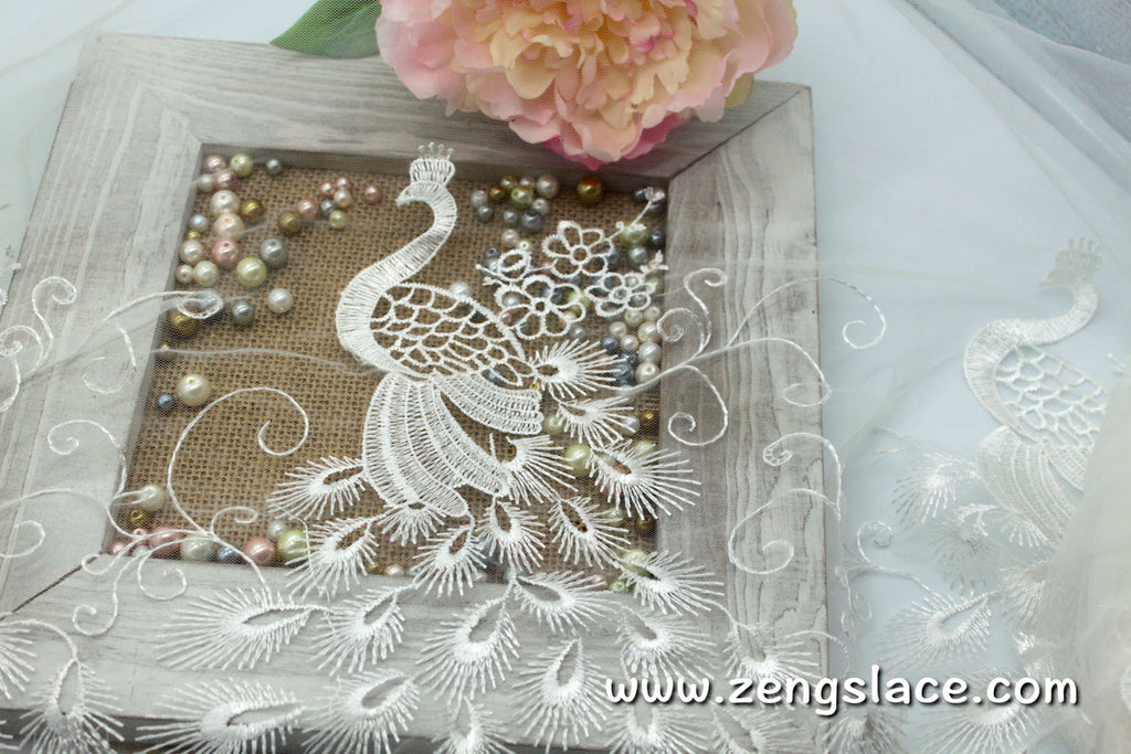 White mesh lace trim with peacock embroidery, wedding lace, bridal lace, 15 inches wide, EL-50