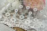 Off-white wide lace trim with floral pattern embroidery and scalloped edge, white lace fabric, wedding lace, bridal lace by the yard, EL-53