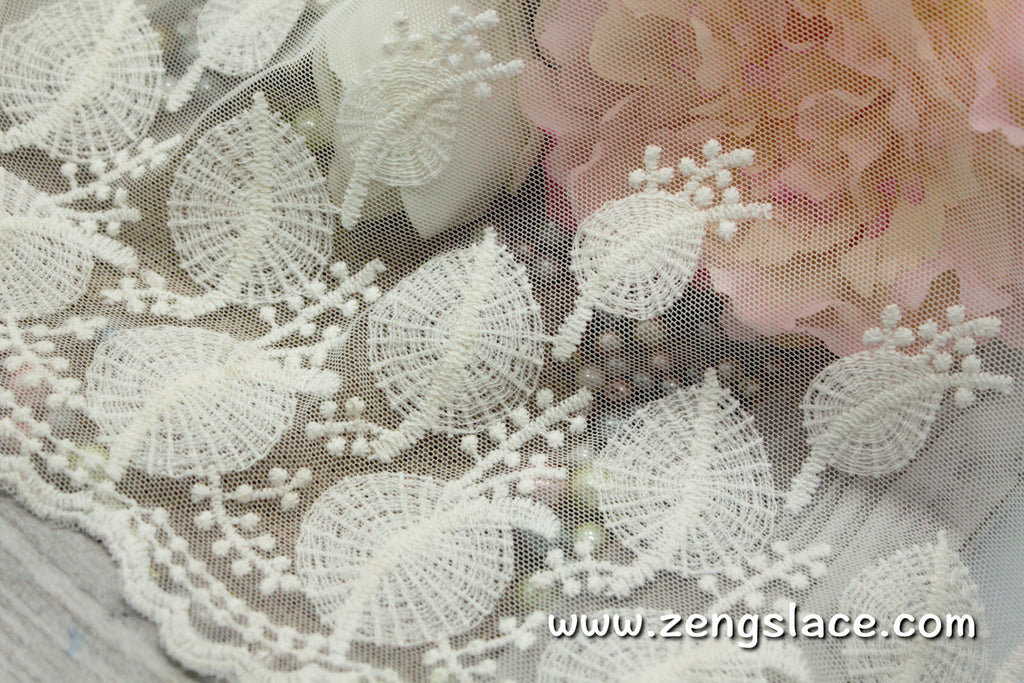 Ivory wide mesh lace trim with round leave pattern embroidery, wedding lace, bridal lace, EL-55