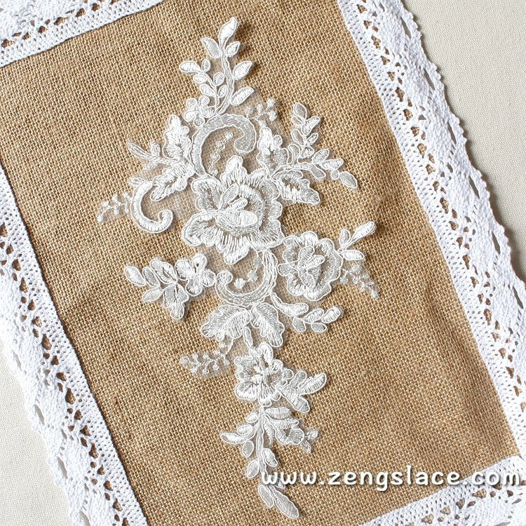 Bridal Lace Applique Pair/Off-white Alencon lace Applique/Boho Wedding Dress Applique/Prom Dress Applique/Luxury Applique/ALA-06