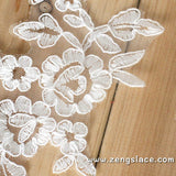 Bridal Lace Applique Pair/Off-white Alencon lace Applique/Boho Wedding Dress Applique/Prom Dress Applique/Luxury Applique/ALA-01