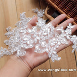 Alencon lace applqiue with sequin flower pattern,wedding applique,priced for a pair of two. ALA-02