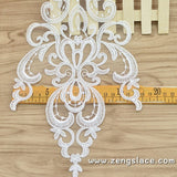 White mesh lace applique embroidered with symmetrical flower and leave patterns. ALA-08