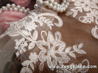 Off-white Alencon lace applqiue with flower pattern, wedding applique, priced for 2 ps. ALA-04