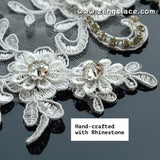 Off-White 3D Alencon lace applqiue with Rhinestone, wedding applique, priced for 2 ps. ALA-12