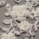 Off-White 3D beaded Alencon lace applqiue with 3D flower, bridal applique, priced for 2 ps. ALA-15