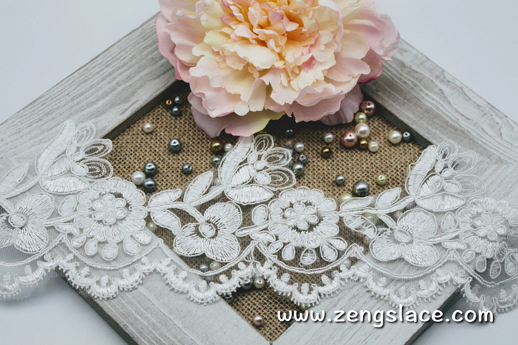 Ivory Alencon lace trim with floral patterns embroidered, wedding lace, bridal lace, AL-04