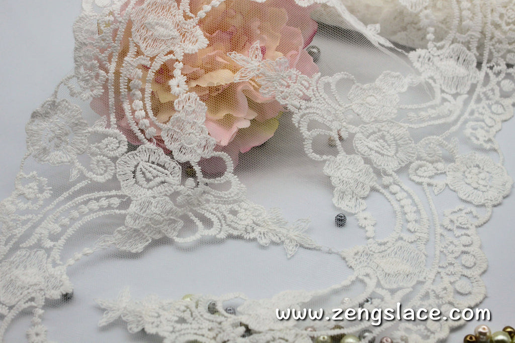 Embroidered mesh lace with Vitorian patterns, wedding lace, bridal lace, vintage lace trim, EL-64