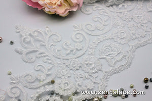 White Alencon lace trim with floral patterns embroidered and scalloped edge, bridal lace, AL-08