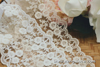 Beige mesh lace trim with floral embroidery, floral lace, bridal lace, lace embroidery, floral embroidery, lace by the yard. ee-19-01