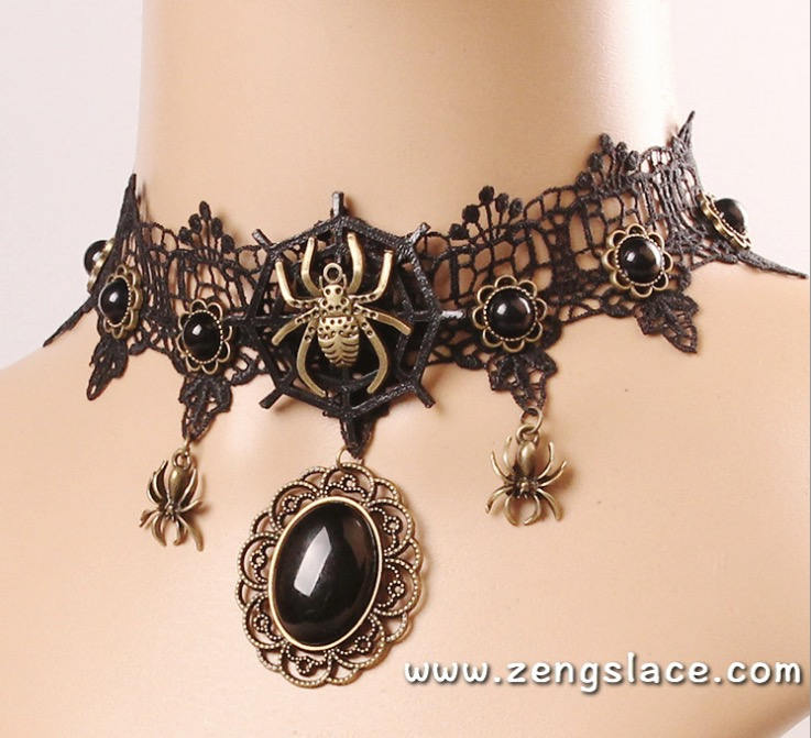Gothic Choker Necklace/Gothic Jewelry/Steampunk Necklace/Beaded Choker/Victorian Necklace/Vampire Necklace/Gothic Decor/Lace Choker/LN-07