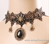 Victorian Black Lace Collar Choker Necklace (Steampunk Style), Romantic Black Lace Choker, LN-07-BL