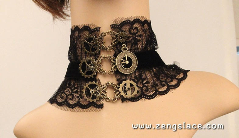Victorian Black Lace Collar Choker Necklace (Steampunk Style), Romantic Black Lace Choker, LN-11-BL