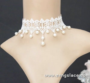 White Lace Choker Collar/Romantic Necklace/Romantic Choker Necklace/Lace Necklace, LN-14-WH
