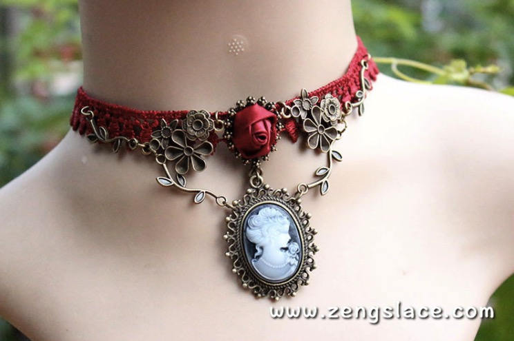 Gothic Choker Necklace/Gothic Jewelry/Steampunk Necklace/Beaded Choker/Victorian Necklace/Vampire Necklace/Gothic Decor/Lace Choker/LN-15-RD