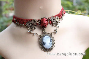 Victorian Red Lace Choker/Red Women Choker/Romantic Red Lace Choker/Women charm, LN-15-RD