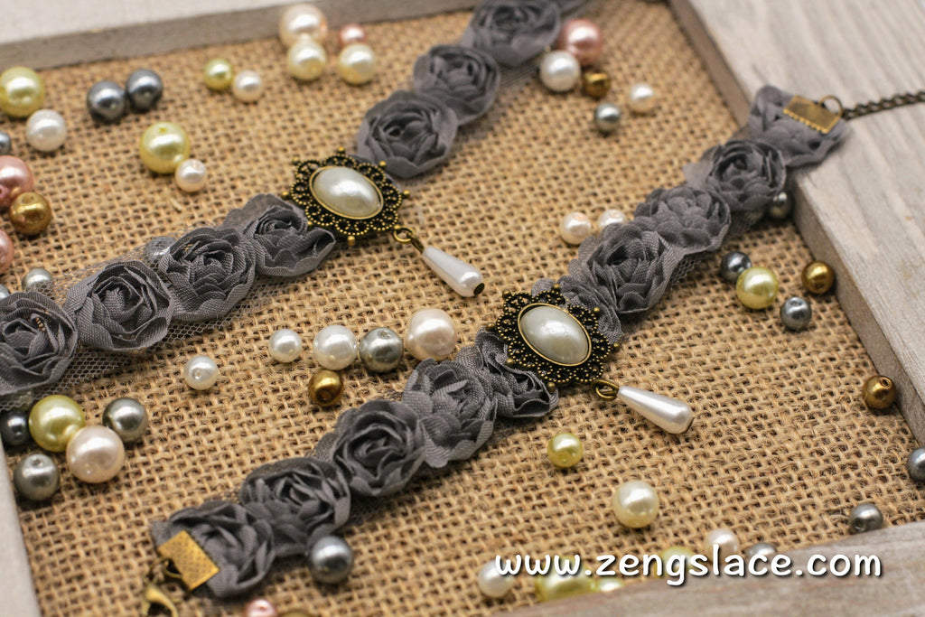 Gothic Choker Necklace/Gothic Jewelry/Steampunk Necklace/Beaded Choker/Victorian Necklace/Vampire Necklace/Gothic Decor/Lace Choker/LN-18