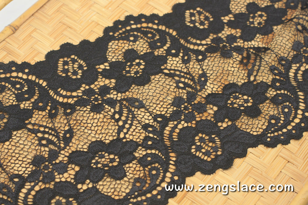 French Lingerie Lace Trim/Chantilly Lace/Black Floral Lace/Lingerie Lace/Lace by the yard, FNL-03