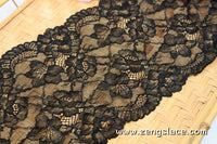 Soft Bralette Lace Black/French Lingerie Lace Black/Stretch Lace/Chantilly Lace/Black Lace/Black Floral Lace/Wide Lace by the yard, FNL-08