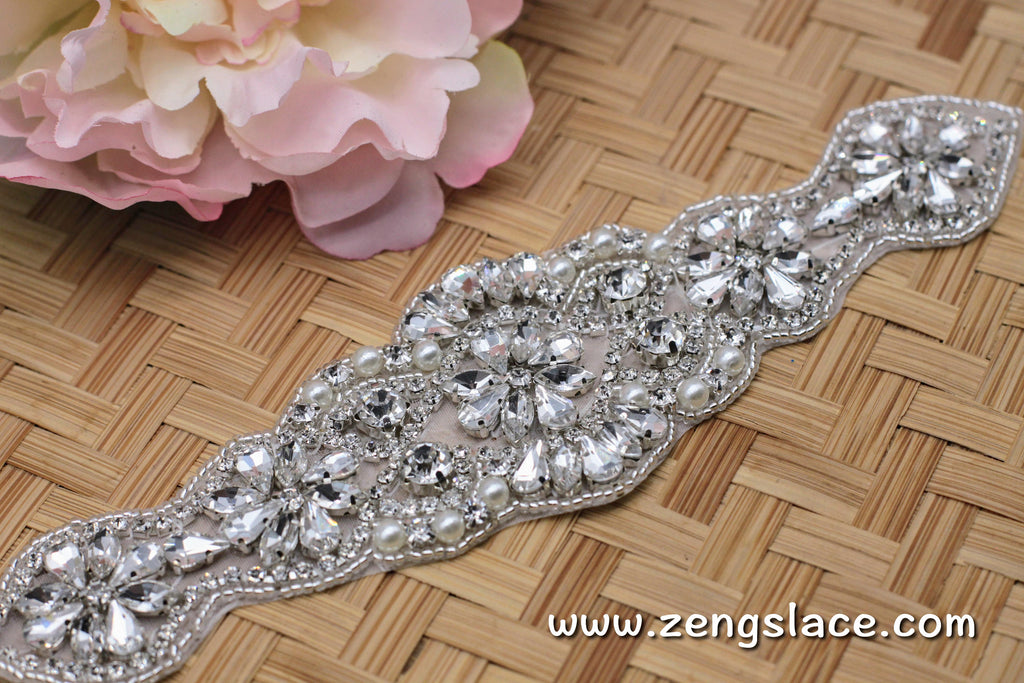 Rhinestone Sash/Bridal Sash/Wedding Dress Belt/Crystal Sash/Rhinestone Applique/Bridal Belt, RA-03