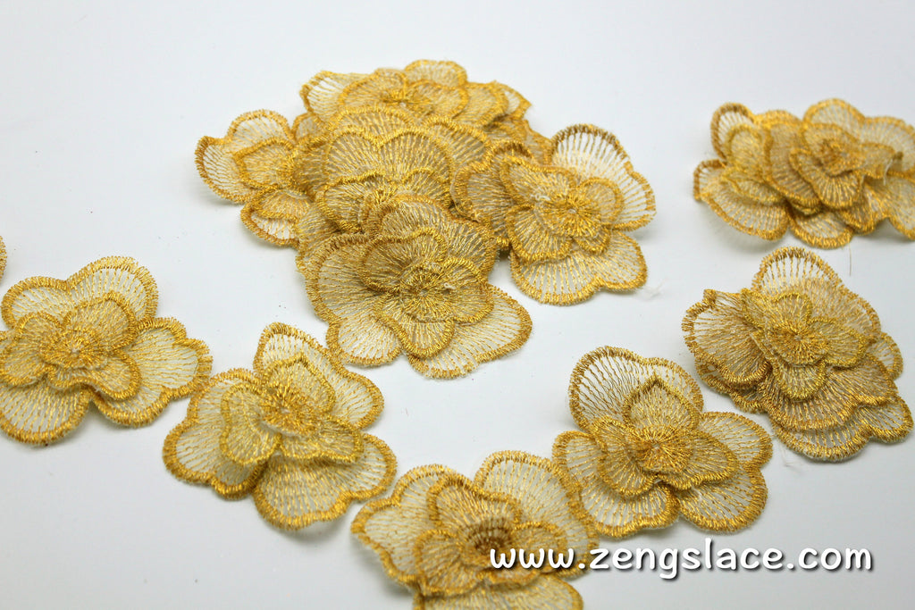 Floral Golden Fabric Flowers/Cute Patches/DIY Hair Bow Flowers/Lace flowers/Lace Applique/3D lace flower/Priced for 4 pieces/DL-08