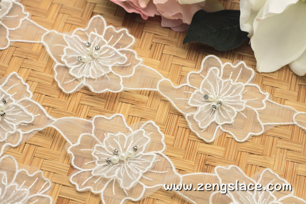 Floral Lace Trim/Rhinestone Lace/3D Flower Lace/Off-white Lace/Lace by the yard/DL-01