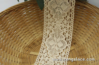 Wide Lace Trim/Beige Lace Trim/lace curtain trim/Cotton Trim Lace/Crochet Lace/Vintage Lace/Edwardian Lace/Insertion Lace by the yard CL-15