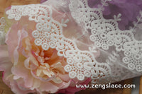 lace trim with floral embroidery/white lace fabric/wedding lace/bridal lace/lace by the yard/EL-65