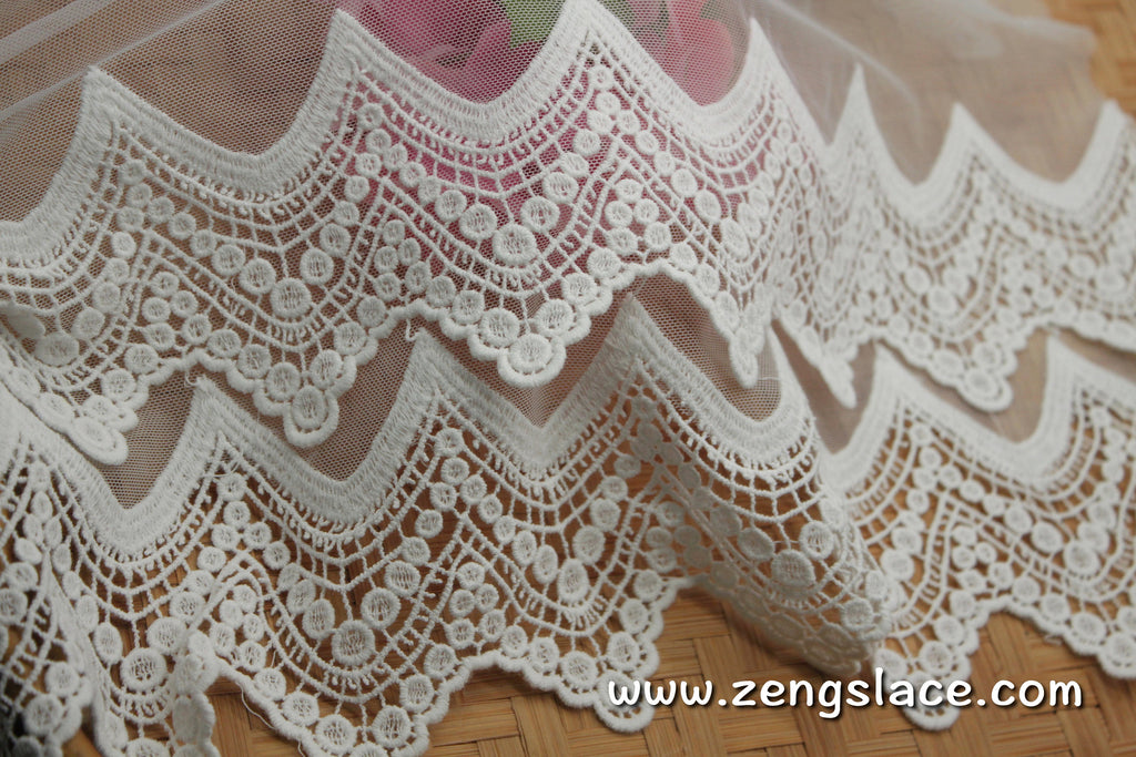 lace trim with floral embroidery, white lace fabric, wedding lace, lace dress, lace skirt, unique bridal lace/lace by the yard/EL-66-OW