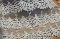 lace trim with floral embroidery/white lace fabric/wedding lace/bridal lace/lace by the yard/EL-67