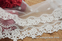 lace trim with floral embroidery, off-white lace fabric, wedding lace, unique bridal lace, lace dress, lace skirt/lace by the yard/EL-69-OW