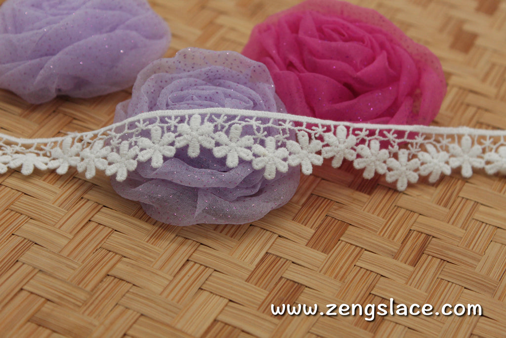 lace trim with floral embroidery/white lace fabric/wedding lace/bridal lace/lace by the yard/GL-59