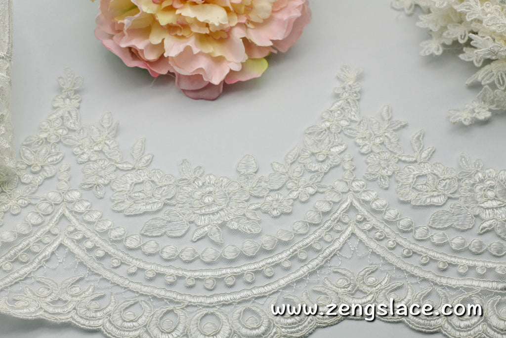 Cream Alencon lace trim/Lace Wedding Dress Lace Fabric/Boho Wedding Dress/Prom Dress/Boho Dress/Bridal Veil Lace/Lace Trim By the yard/AL-13
