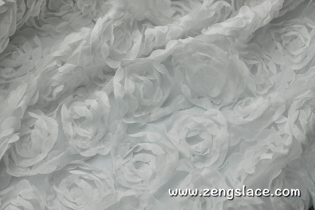 Rose lace fabric/Unique Bridal Lace Top/3D Lace Fabric/Floral Lace Fabric/Chiffon Lace/White lace fabric/Prom Dress/Lace by the yard/FL-08