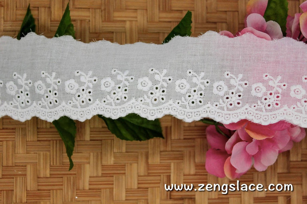 Creamy embroidered cotton lace trim/eyelet lace/Doll lace/vintage lace/bridal lace by the yard/EY-29