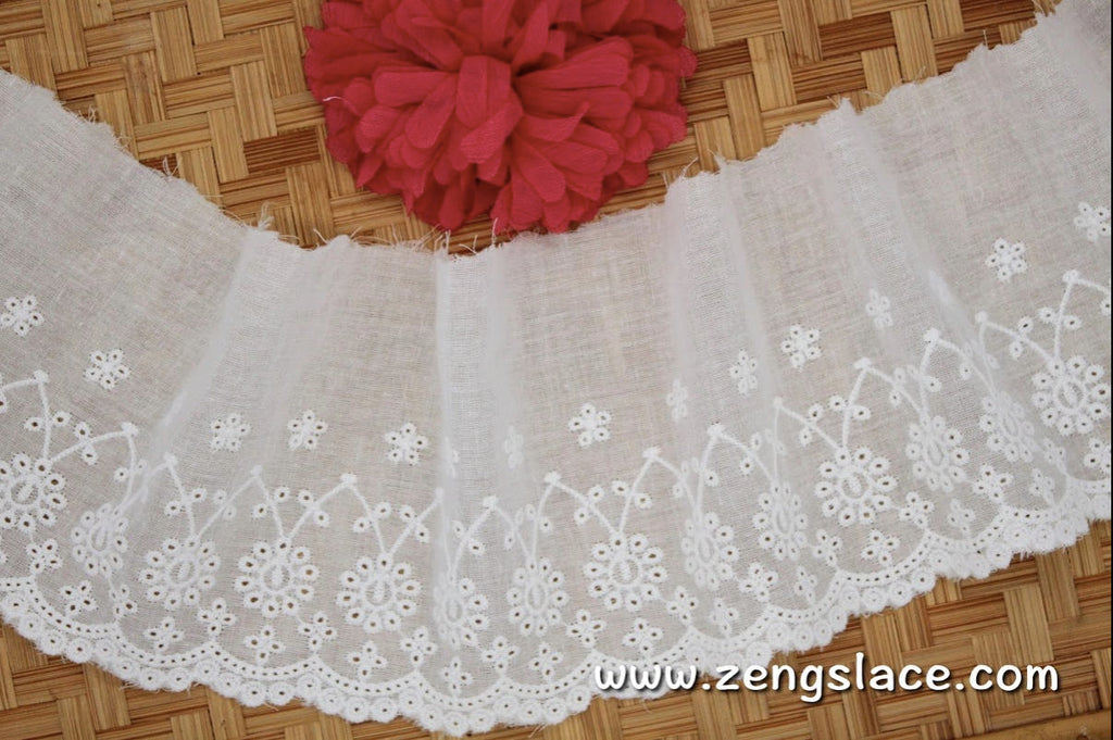 Creamy vintage Lace/eyelet lace/unique bridal lace/antique lace/cotton lace by the yard/EY-33