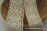 Wide Lace Trim/Beige Lace Trim/Cotton Trim Lace/Crochet Lace/Vintage Lace by the yard/CL-15