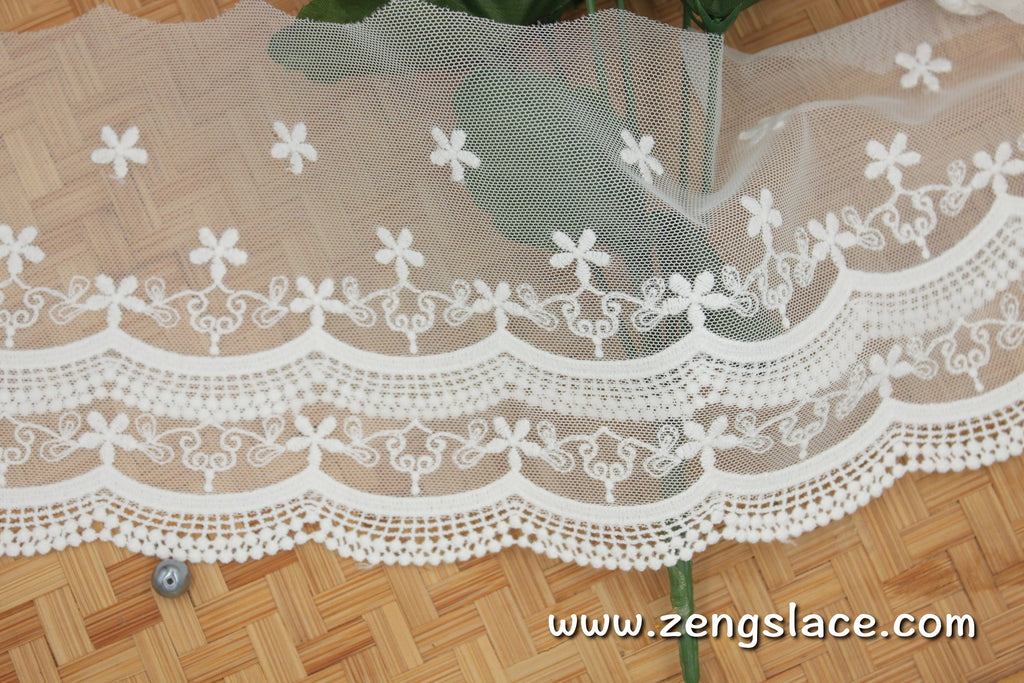 lace trim with floral embroidery/white lace fabric/wedding lace/bridal lace/lace by the yard/EL-68