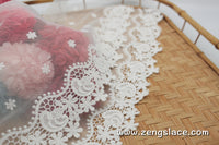 lace trim with floral embroidery, white lace fabric, wedding lace/lace by the yard/EL-69-OW