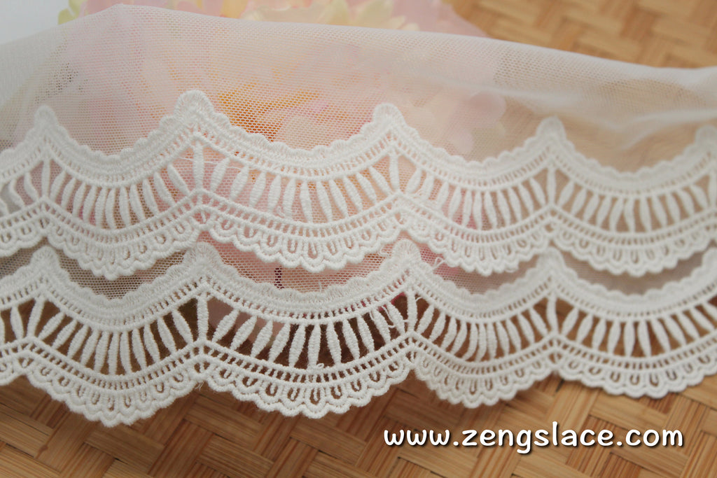 lace trim with floral embroidery, white lace fabric, wedding lace/lace by the yard/EL-71-OW