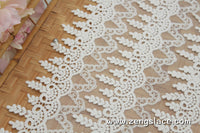 lace trim with floral embroidery/white lace fabric/wedding lace/bridal lace/lace by the yard/EL-72