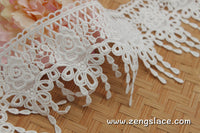 lace trim with floral embroidery/white lace fabric/wedding lace/bridal lace/lace by the yard/EL-74
