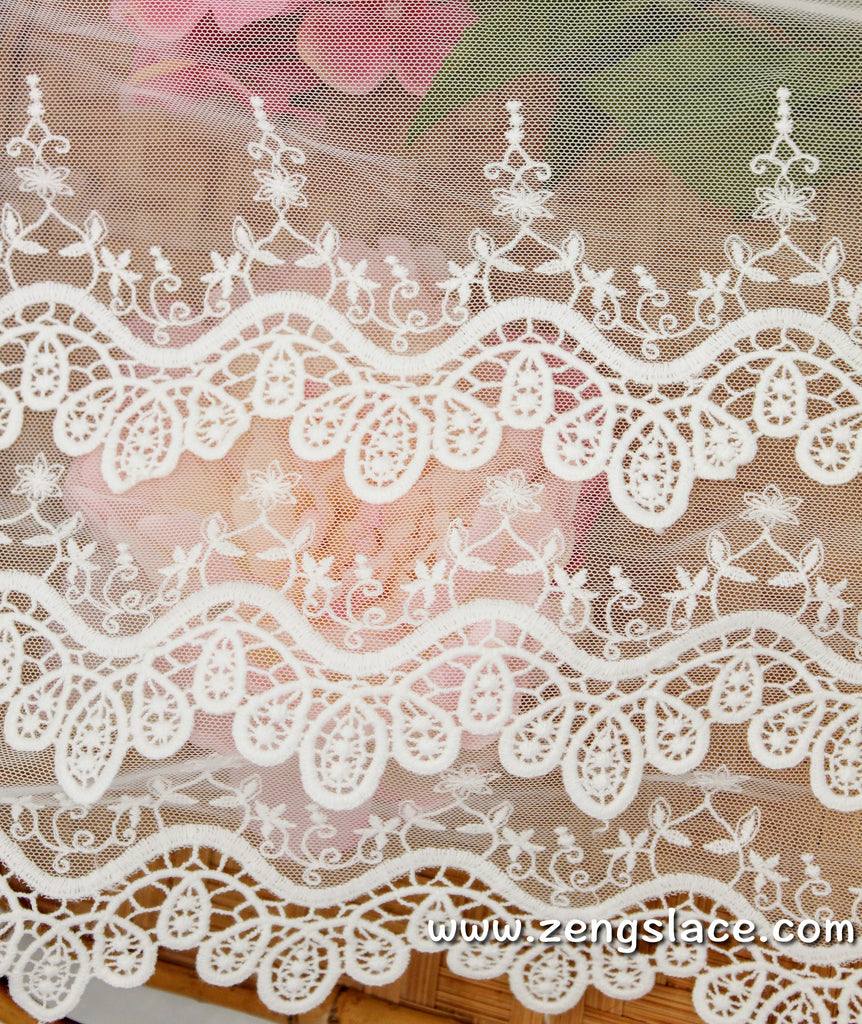 lace trim with floral embroidery/white lace fabric/wedding lace/bridal lace/lace by the yard/EL-76