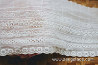 Eyelet lace trim/double layer cotton lace/unique bridal lace/vintage lace/lace by the yard/EY-17