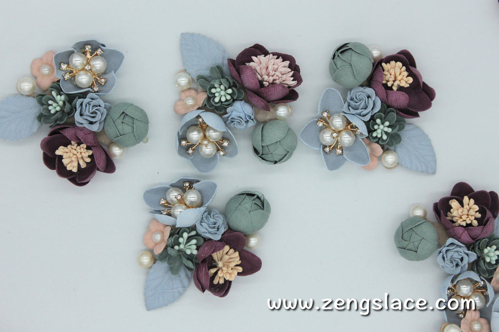 Wedding Corsage Pale Green/Cute Patches/3D Flower Applique/Bridal Applique/Show Clips/Shoe Applique/Beaded Applique/Priced for 1 pc/DL-20