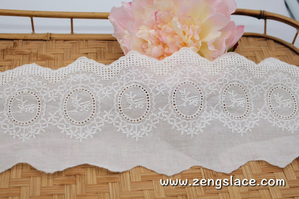 Eyelet Lace Trim/Antique Lace/Vintage Dress Lace/Boho Dress Lace/Vintage Wedding Dress/Lace Dress/Lace Fabric by the yard/EY-44